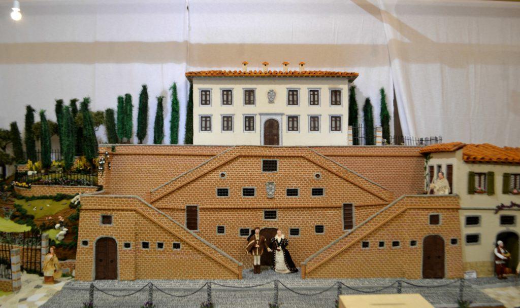 La Villa Medicea all'interno del presepe de Le Dame dell'uncinetto di Cerreto Guidi
