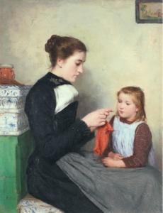 la maglia nell'arte - Albert Anker - Donna bernese con bambino